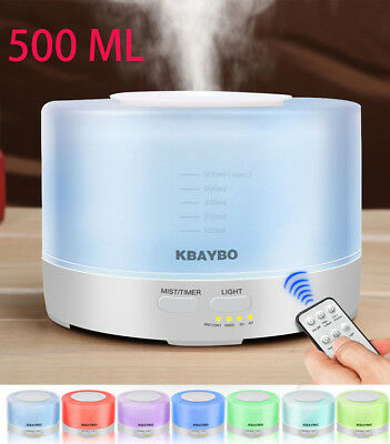 500ml Remote Control Essential Oil diffusers 7 LED Light Aromatherapy mist maker