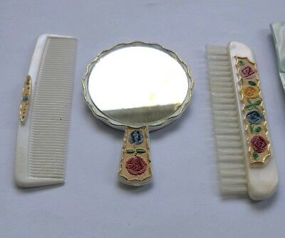 vintage childrens brush comb mirror set