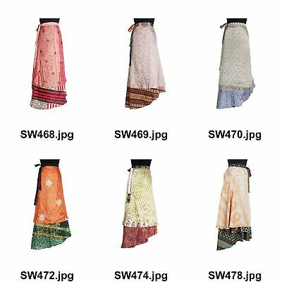 Hippie Magic Wrap Around Skirt Indian Vintage Silk Saree Tube Sw640 Women's Clothing