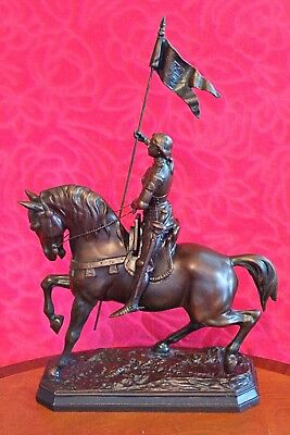 A FRENCH BRONZED SPELTER SIGNED STATUE OF Jean D'Arc  LATE 19TH CENTURY