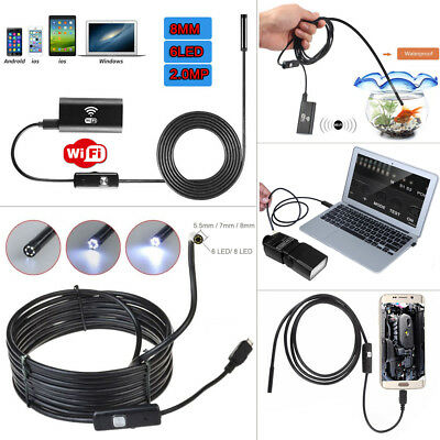 For Android iPhone PC WIFI Endoscope Waterproof Borescope Inspection Camera 6LED