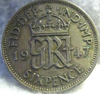 1947 Great Britain 6 Pence ~ Gorgeous, Old World Coin ~ KM# 862