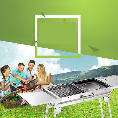 Foldable BBQ Barbecue Flat Pack Portable Camping Outdoor Garden Grill New Pro