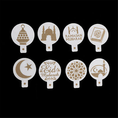 8pcs/set Mosque Eid Mubarak Ramadan Design Coffee Stencils Cake Templates FT