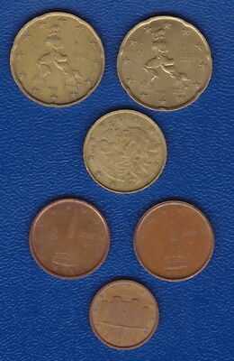 ITALY  EUROS  - Set of 6 COINS  - 20 Cents (x2),10Cent, 2Cent(x2) &  1Cent Euros