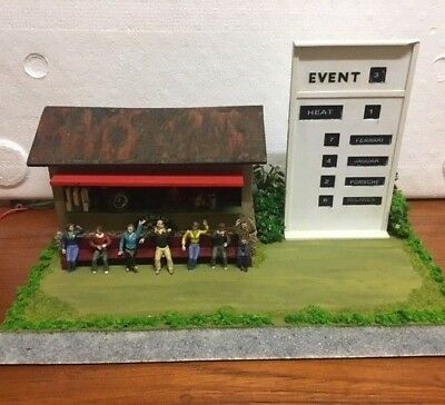 Slot car building with Carrera moving spectators & Scalextric A201 Event Board 1