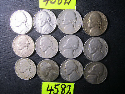 12 x five cent  coins   from  U.S.A.     20  gms      Mar4582