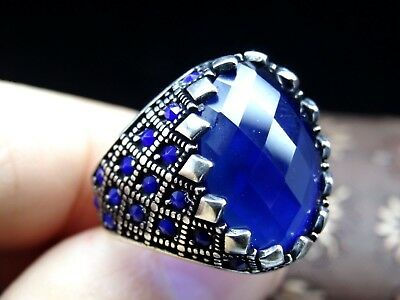 Turkish Handmade 925 Sterling Silver Sapphire Stone Men's Ring Sz 9.Free Rsz&71
