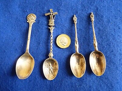 FOUR (4x) solid silver / Sterling silver spoons – Dutch & English - Not scrap