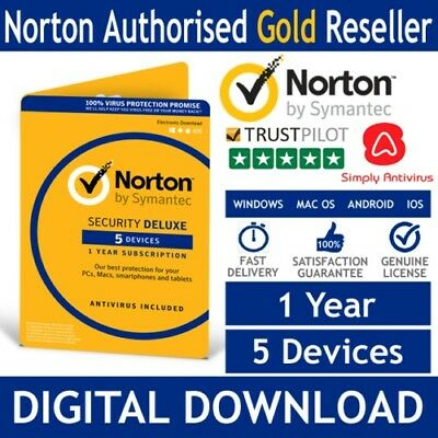Norton Security Deluxe 2018 5 Devices, 1 Year, Internet Antivirus (Key Emailed)
