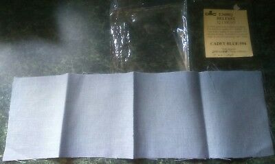 "32 CT Belfast 100% Pure Linen - Cross stitch Evenweave CADET BLUE/594 -19""x6""DMC"