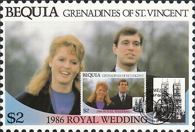 (13556) Bequia St Vincent Maxicard Prince Andrew Fergie Royal Wedding 1986