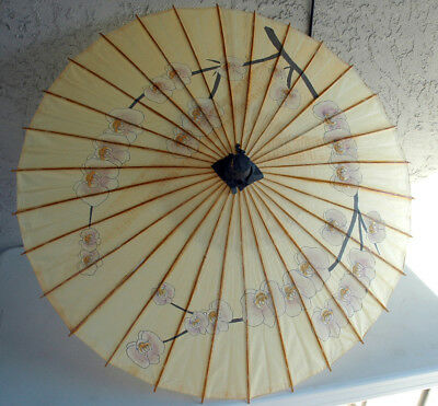 "Antique Vintage Oriental Rice Paper Wood Frame Umbrella W/ Bamboo Handle 18""x34"""