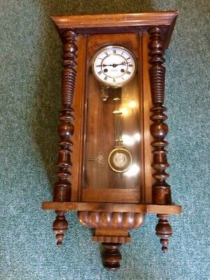 Antique hardwood and glass case wall clock