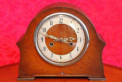 Vintage Art Deco 'Enfield' 8-Day Striking Mantel Clock