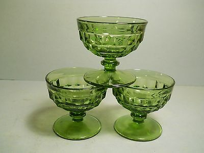 vtg Indiana Glass Green Lot of 3 Sherbert or Wine Glasses Footed Green Glass