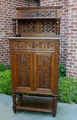 Antique French Carved Oak Gothic Vestry Wine Altar Cabinet Bar Bookcase Drawers