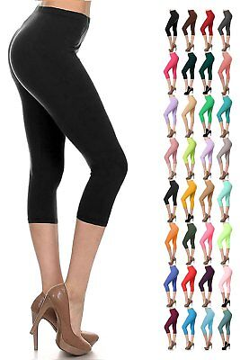 Womens 3/4 Length Cropped Leggings Capri Three Quarter Gym Fitness Workout Pants