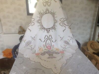 Vintage Stunning, Bright,Hand Embroidered,White Linen, Table Cloth, Madeira Work