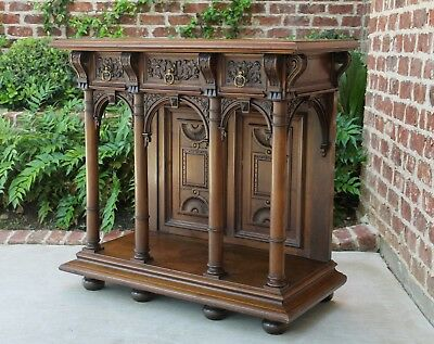 Antique French Walnut Renaissance Revival Entry Hall Foyer Sofa Console Table