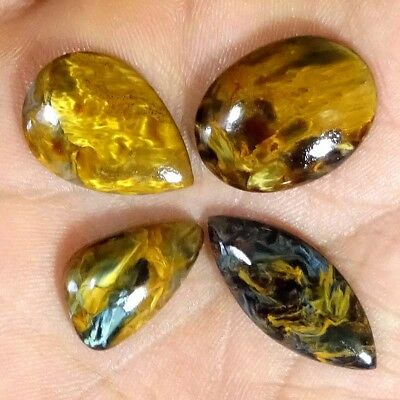 ~4 PCs LOT~ 35.60 CTs 100% NATURAL CHATOYANT GOLDEN Pietersite MIX CAB GEMSTONES