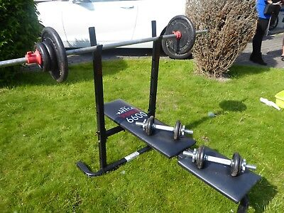 YORK Weight Bench, Barbell, Two Dumbbells with 36kg of Weights