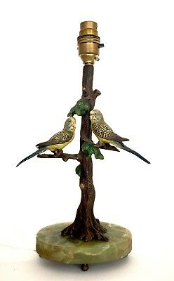 Vintage Cold Painted Bronze 'Budgerigars' Table Lamp. Austrian c.1930/40s