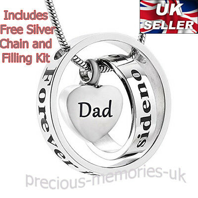 Dad Cremation Ashes Necklace - Funeral Memorial Jewellery - Keepsake Urn Pendant