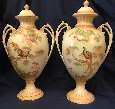 Crown Ducal A G Richardson Co.Ltd Blush Ivory Pair Urns Exotic Birds c1930s
