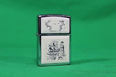 Beautiful Vintage Ship and Lighthouse Scrimshaw Lighter Zippo Lighter USED