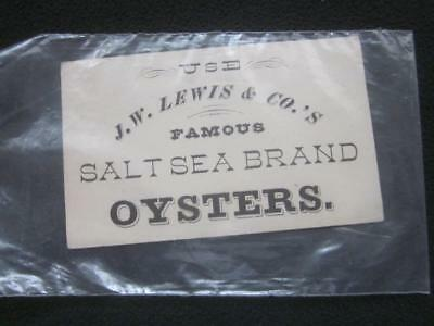 J. W. LEWIS & CO'S SALT SEA BRAND OYSTERS TRADE CARD - MARY ANDERSON on REVERSE