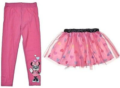 DISNEY Little Girls 2 piece Minnie Mouse Graphic Leggings with Tutu Size 5 NEW