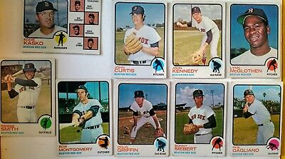 9 x Topps 1973 Boston Red Sox baseball cards - commons