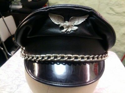 leather cap with chains