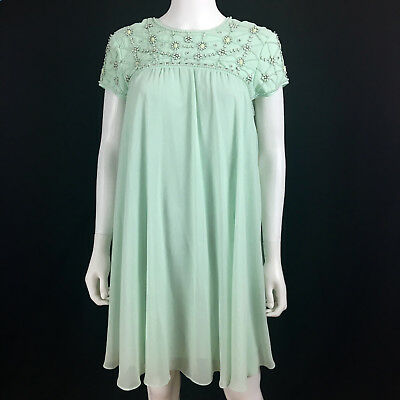 TED BAKER sz 2 US 6 S Green Pleated Swing Tent Dress Pearl Embellished  Lined r6 6f01b0158c27