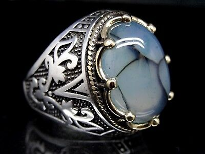 Turkish Handmade 925 Sterling silver agate  stone mens ring size 10 Free Rsz&97