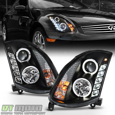 Black Headlamps For 2003 2007 G35 2 Door Coupe Led Halo Drl Projector Headlights