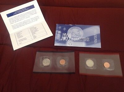 1999 Susan B. Anthony Dollar P&D Uncirculated Mint Set in OGP - FREE SHIPPING!