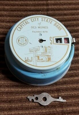 ANTIQUE ROUND ADD A COIN BANK -Capital City State Bank of Des Moines with KEY