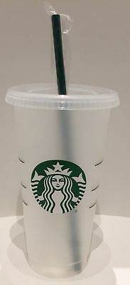 NEW Starbucks 2018 24oz Reusable Frosted With Reusable Plastic Green Straw