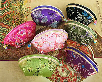 Lot of 5 pcs Chinese embroidery Silk satin Coin pouch PURSE wallet wholesale