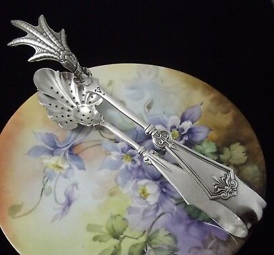 "1847 Rogers Bros PERSIAN Pattern ~ XXL 9"" Claw & Pierced ICE TONGS ~ Ultra RARE!"