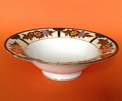 Noritake Hand Painted Pedestal Bowl - Art Deco Style Black And Gold Accents