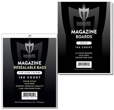 100 Max Pro Ultra Clear Resealable Magazine Bags and Boards