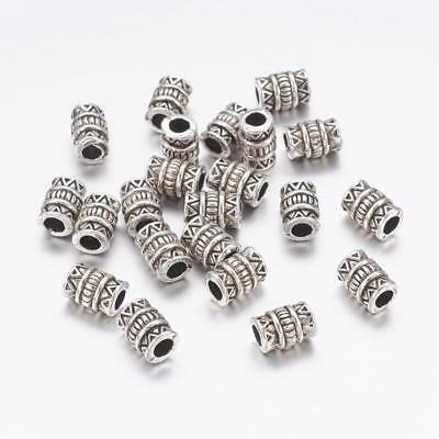 Lot of 20 Pieces Tibetan Style 7mm x 5mm Antique Silver Tone Alloy Tube Beads