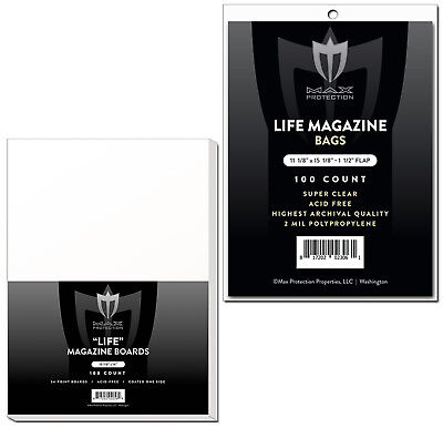 300 Max Pro Ultra Clear Life Magazine Bags and Boards - Acid Free