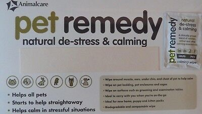 Pet Remedy Calming Wipes For Dogs / Cats / Furry Pets & Birds - 5/10/18 Sachets