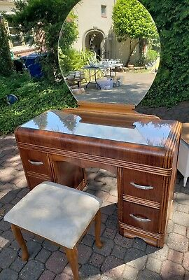 Antique Vanity Deco Style with Large Round Mirror c1930's