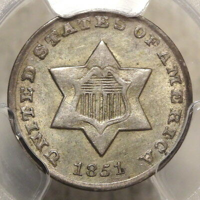 1851-O Three Cent Silver, Choice Almost Uncirculated  PCGS AU-55, ORIGINAL!