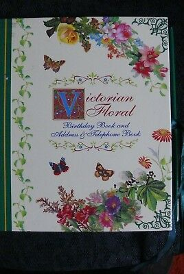 "Book,address/telephone/birthday Book, Victorian Floral, ""new"" Condition"
